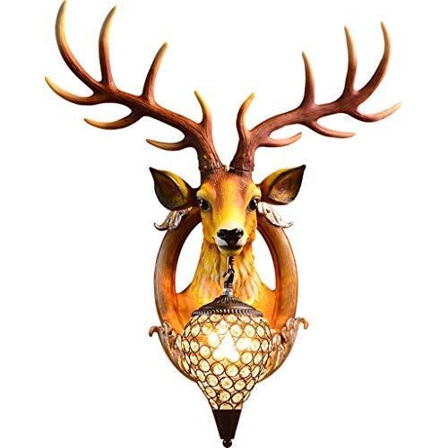 Hirschköpfe Antlers Vintage Style Harz Wandleuchte 1 Licht, rustikale Wandleuchte Wohnkultur, ländliche Landschaft Antler Wandleuchte, Wohnzimmer, Bar, Cafe, E27 A+ -