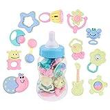 MagiDeal Baby Rassel Beißring Spielzeug 12 Stücke mit Baby Flasche Geschenk Set