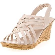 Ouneed ® Moda mujer altas plataformas patrón correa Gladiator sandalias