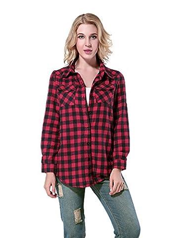 Yidarton Chemise Carreaux Femme Manche Longue Cotton Décontractée Blouse Shirt (Medium, Rouge)