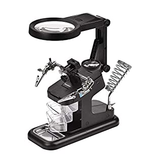Gocheer 3X/4.5X/25X Loupe -3ème Troisième Main Inclus Lampe 10 LEDs,3pcs Petites Boîtes,Support Fer à Souder,Mini Serrage,Pinces Crocodiles pour Soudure,Assemblage,Réparation,Electronique,Bricolage