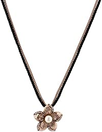 Jazz Jewellery Antique Gold Flower Rhinestone And Pearl Double Layered Black Leather And Gold Chain Necklace