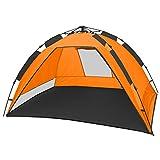 CampFeuer - Strandmuschel, orange/grau, UV50+, Automatik Strand Zelt, Beach Tent