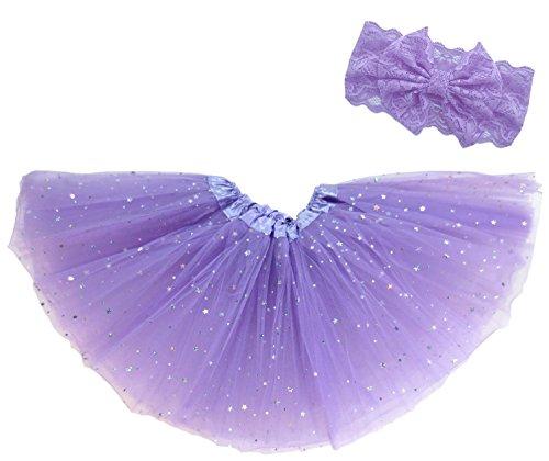 Dancina Mädchen Tüllrock Ballettrock Glitzer Sterne m. passendem Haarband Lila Glitzer 2-4 Jahre (Lila Fee Ballett Kostüm)