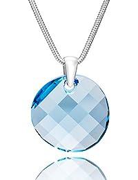 LillyMarie Damen Hals-Silberkette Silber 925 Original Swarovski Elements  Anhänger Rund Hell-blau Längen 7920efa017