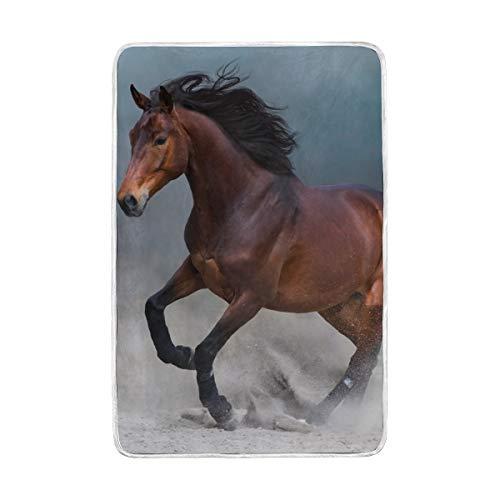 CPYang Decke mit Pferdemotiv, weich, warm, Mikrofaser, für Erwachsene, Mädchen, Jungen, Kinder, 152 x 229 cm