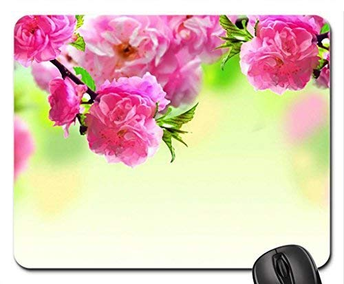 PINK Flower Frame Mouse Pad,Flowers Non-Slip Mouse Pad Office Competitive Mouse Pad 18X22cm