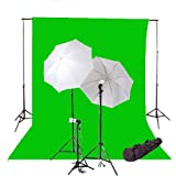 CowboyStudio 600 Watt Photo Studio Continuous Triple Lighting Kit, 10 X 20ft Green Muslin Backdrop with 12 Feet Background Support System and Carry Case