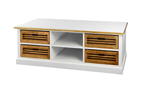 SAM® Lowboard II 453 Paris aus weiß lackiertem Paulowniaholz im Landhausstil, teilmassiv, viel Stauraum