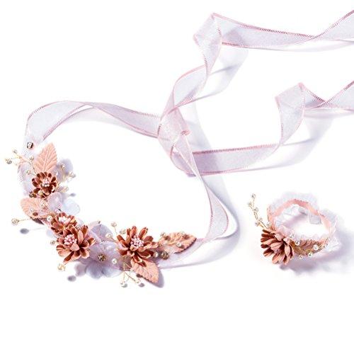 Krone Kopfschmuck Blumenmädchen Stirnbänder Erstkommunion Stirnband Blumenkranz Handgelenk Band für Braut Hochzeit Haarschmuck ()