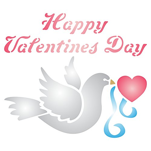 Valentine dove stencil (dimensioni 10x 8cm) riutilizzabili per pittura-migliore qualità Valentine progetto idee-utilizzo su pareti, tessuti, vetro, legno, carte, e molto altro