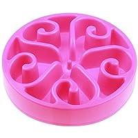 JUNGEN Comedero para Mascotas con Forma de Redondo Alimentador Lento Cuenco Recipiente Plato plástico para Perro Gato (Rosa)