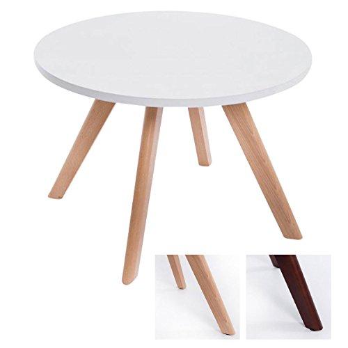 CLP Design-Beistelltisch Eirik aus Holz I Runder Teetisch mit matt weißer Tischplatte I Kompakter Couchtisch mit Holzbeinen Tischplatte: weiß/Gestell: Natura