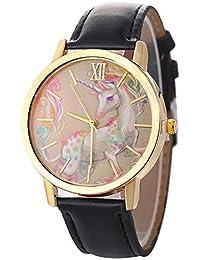 jingyuu 1Pcs Reloj Unicornio,Reloj de Dama,Reloj Infantil,Niño niña(Negro
