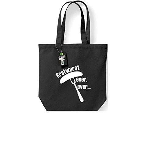 Fairtrade Stoffbeutel Bratwurst ever, ever... Grillfest grillen Beutel, Shopper Umhängetasche , Farbe schwarz
