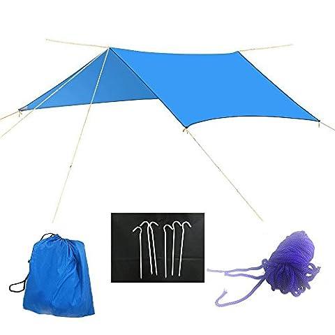3x 3m Camping étanche Tente Bâche imperméable Fly Hamac Tarp, Housse Vprawls pique-nique Tapis de couverture, Mutil-functional Tente Abri pour extérieur Voyage pique-nique, randonnée, piquets inclus