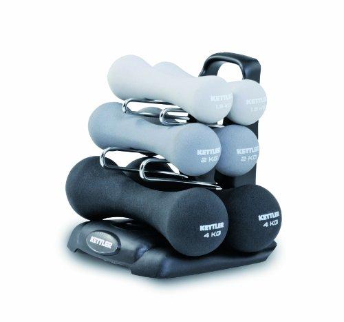 Kettler Neopren Hantel Set Power – 6 Kurzhanteln in 3 Gewichts- und Farbvarianten inkl. Hantelständer – kompakte Fitnessgeräte für Zuhause und das Fitnessstudio – hellgrau, grau & schwarz