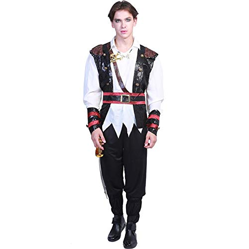 YouN Novelty Funny,AAdult Women Men Halloween Party Pirate Costume Cosplay Clothes Set (L) (Womens Fancy Pirate Dress)