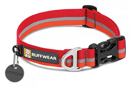 Ruffwear Hundehalsband mit Reflektorstreifen, Mittelgroße Hunderassen, Größenverstellbar, Größe: M (36-51 cm), Rot/Orange (Kokanee Red), Crag Collar, 25801-6041420