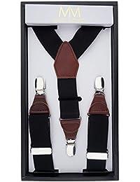 Massi Morino bretelle per uomo in vera pelle, cinturini regolabili in classica Y forma elastico con fermagli extra forti, inclusa una confezione regalo nobile (Nero)
