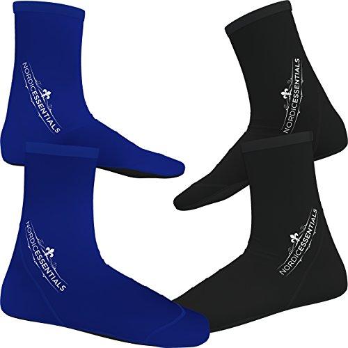Calzini da spiaggia (2 paia) da indossare nella sabbia per giocare a pallavolo e calcio o come scarpine per immersioni, snorkeling e sport acquatici – bambini, uomini e donne – da Nordic Essentials ™, Black + Blue