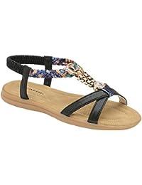 Dunlop Damen-Frauen Sommer Folk Rund Clip Zehen Sandalen Strand Zehentrenner Flaches Elastisches T-Riemen Post Riemen Sandalen Schuhe - Blau, 40