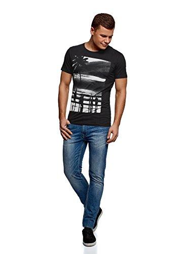 oodji Ultra Herren Bedrucktes T-Shirt Schwarz (2923P)