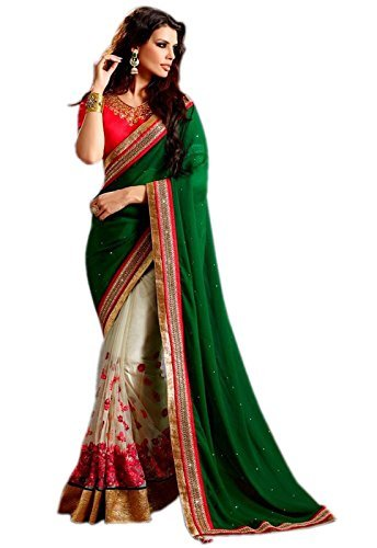 Try n Get's Green and White Color Fancy Designer Georgette Embroidered (Fancy Indische Dress)