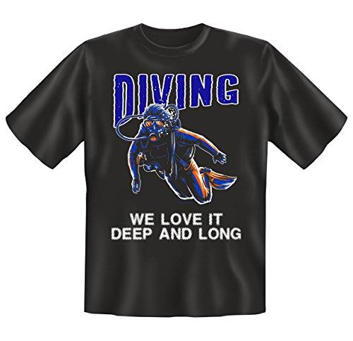 Hammer Funshirt im Set - Tshirt als Geschenk - Schwarz - Motiv: Diving Deep and Long Schwarz