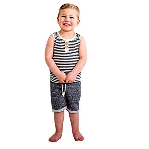 Bonjouree Shorts et Haut Bebe Garçon T-Shirt sans Mancehs et Shorts Ensembles Ete pour Garçon 0-4 Ans (Noir, 2-3 Ans)