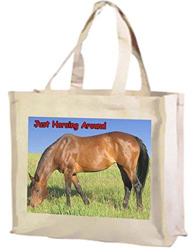 Horsing intorno, Horse Bay-Borsa per la spesa, in cotone (crema)