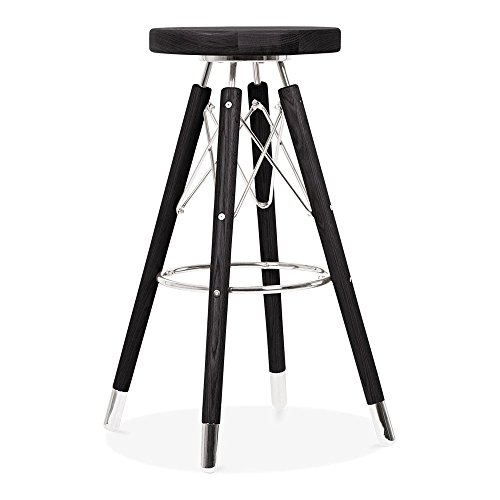 Cult Design Tabouret de Bar Moda CD3, Bois Massif, Noir 75cm
