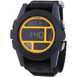 Nixon Men's Quartz Watch Baja Black / Steel Blue / Neon Orange A4891323-00 with Textile Strap