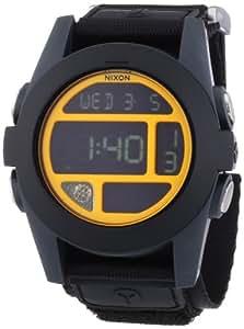 Nixon Herren-Armbanduhr XL Baja Black / Steel Blue / Neon Orange Digital Quarz Nylon A4891323-00
