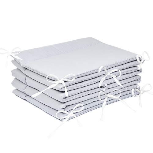 Amilian® Bettumrandung Nest Kopfschutz Nestchen 420x30cm, 360x30cm, 180x30 cm Bettnestchen Baby Kantenschutz Bettausstattung Einfarbig: Grau (360x30)