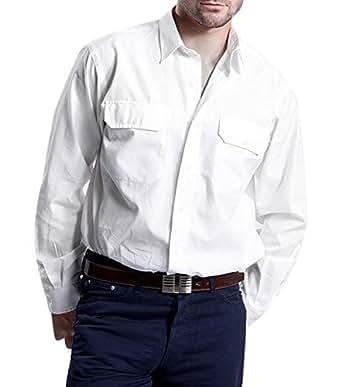 Polo Ralph Lauren chemise à manches longues Deux-Ply coton blanc, Taille:m
