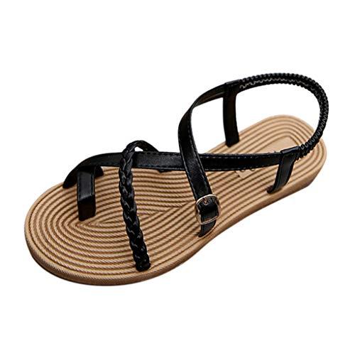 FNKDOR Schuhe Clip Toe Römische Sandalen Damen Böhmisch Flacher Boden Strand Sandals Slingback Weben Kreuzgürtel Dekorative Schnalle Schwarz 39 EU -