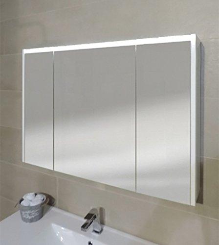Specchiera specchio bagno pensile contenitore 3 ante, fascia led, cm.67x91,7x15