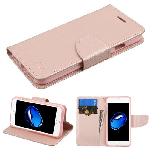 Fall + Tempered Glas/_ MYBAT MyJacket mit Kreditkarte Slot Passt Apple iPhone 7 Plus/7S Plus/8 Plus (Auch Passend für iPhone 6 Plus/6S Plus) PU Leder Wallet/Geldbörse/Clutch Rose Gold/Pink (Gold-t-mobile Plus Iphone 6)