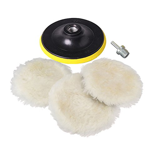 Price comparison product image Polishing Buffer Pads, 6Inch Car Polishing Bonnets Lambs wool & Terry Valeting Buffer Pads Kits with M16 Drill Adapter Pack Of 5Pcs