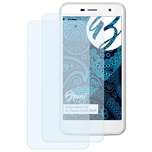 Bruni Schutzfolie für Thomson Friendly TH101 Folie, glasklare Bildschirmschutzfolie (2X)