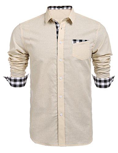 Burlady Herren Hemd Langarm Kariert Freizeit Hemd Anzug Hemd Baumwolle Button-Down (Anzug Button-down-hemd,)
