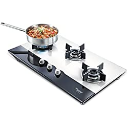 Prestige Hob Glass Top 3 Burner Auto Ignition Gas Stove, Black and White