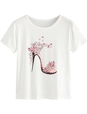 LuckyGirls Camisetas Mujer Originales Manga Corta Mariposa Tacones Altos Estampado Blanco Remeras Blusas Camisas