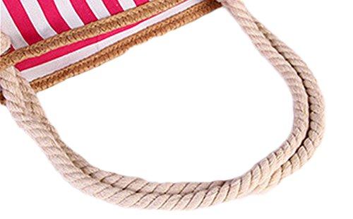 Sac Rayé Marine Mode Plage Sacs à Main Sac à Bandoulière Sac à Main Impression Corde De Coton Occasionnel pink