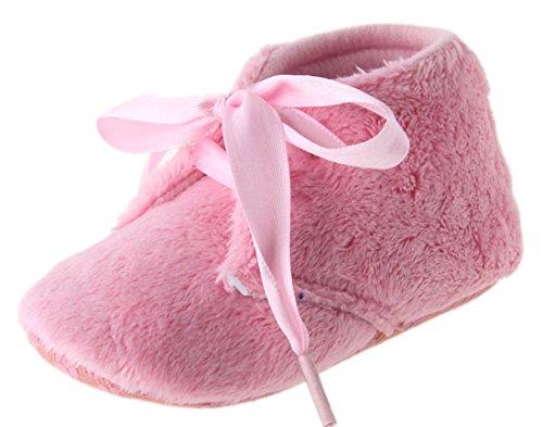 Dantiya Anti-Rutsch-weichen Schuhe für 0-18 Monate Baby, Winter-weich Korallen Samt prewalker Schuhe (12cm (6-12 Monat), Pink) Pink