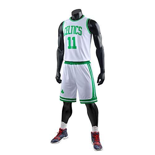 SKLLA Herren Basketball Sweatshirt - NBA Boston Celtics # 11IRVING Jersey Ärmelloses T-Shirt Sportweste,White,4XL (Jersey White Celtics)