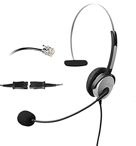 4Call H500QMA Corded RJ Telephone Headset with NC Microphone +QD+VC for Aastra Nortel Nec Mitel ShoreTel Toshiba Siemens GE InterTel Sprint Talkswitch Iwatsu Packet8 ESI Allworx 3Com Office IP Phones