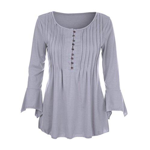 OverDose Donne Manica Lunga T shirt Camicie Maglietta blusa Camicie Elegante Grigio