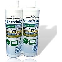 PANDACLEANER® Nachfüll-Set 500ml Brillenreiniger 2 x 250ml Nachfüllflasche + Brillenputztuch | ohne Alkohol | antibeschlag | streifenfrei | Auch für Displays, Monitore, Visiere geeignet